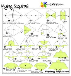 flying squirrel origami - Yahoo Image Search Results Origami Guide, Origami Folding, Paper Folding, Lab, Samurai Helmet, Flying Squirrel, Japanese Wine, Traditional Artwork