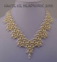 """Simply Beautiful"" A beadwoven wedding necklace of Swarovski rice pearls and seed beads."