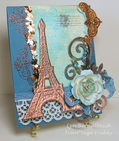 I adore this card by Lyn Bernatovich. Awesome techniques!