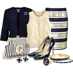 """""""Gold and navy"""" by eva-malecka on Polyvore"""