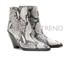 Caroline Snake-effect Leather Ankle Boots In Off White Acne Studios, Bootie Boots, Shoe Boots, Silver Heels, Tall Boots, Black Rubber, Leather Ankle Boots, Designing Women, Wedge Heels