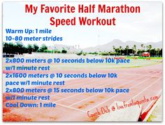 Need to try this as part of my half training... 8 Reasons Half Marathon is the Perfect Distance + My Favorite Workout