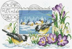 The picture that goes to 2 part pins --postcard winter birds chart