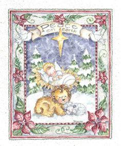 Jesus Nativity lion & lamb ~ Peace on Earth by Shelly Rasche