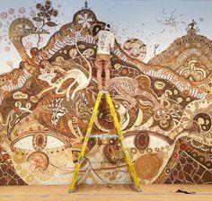 """Yamatane"" mud mural at the Rice Gallery in Houston, Texas by Yusuke Asai (11 pics)"