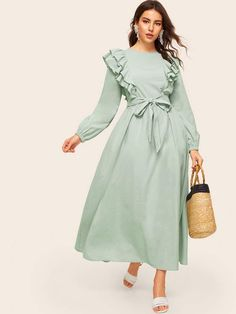 To find out about the Layered Ruffle Trim Belted Solid Dress at SHEIN, part of our latest Arabian Clothing ready to shop online today! Hijab Fashion Summer, Modern Hijab Fashion, Hijab Fashion Inspiration, Muslim Fashion, Modest Fashion, Fashion Dresses, Simple Dresses, Casual Dresses, Iranian Women Fashion