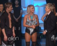 Wow: Julianne Hough turned up the heat in a tight fringe top and Lycra shorts for her energetic performance on The Ellen DeGeneres Show with brother Derek on Monday to promote their upcoming Move Live On Tour show