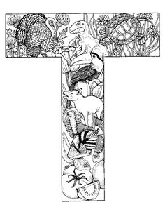 Alphabet Animal Coloring Pages T