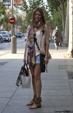 blazer nude, floral scarf and shorts ;)
