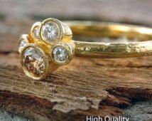 Diamond Flower Ring, 18K Yellow Gold Ring Band, Natural Diamond Ring Band, Unique Rings, Gold Rings for Women, Fashion Rings