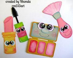 Paper Piecing shoppies Maquillaje Belleza para páginas de álbumes de recortes por Rhonda rm613art