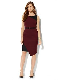 7th Avenue Suiting Collection Sheath Dress - Black Cherry - New York & Company