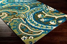 Indoor-Outdoor-Rectangle-Round-Area-Rug-Paisley-Traditional-Lime-Olive-Teal