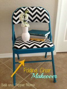 Folding Chair Makeover With Paint And New Fabric! These Would Be Fun To  Have As Spares Or For A Kids Desk Chair.