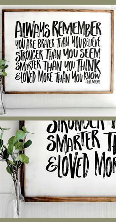 A wonderful quote by Christopher Robin from Winnie the Pooh! Always Remember You Are Braver Than You Believe | Farmhouse Wood Sign | Shabby Chic Decor, Rustic decor, Farmhouse decor, nursery decor, kids bedroom wall decor, inspirational sign, gift idea #ad