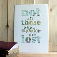 Travel quote cut out map typographic print 'not all those who wander' JRR Tolkien