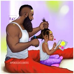 Father and Daughter Black Art Black Girl Art, Black Girl Magic, Art Girl, Black Man, Natural Hair Art, Natural Hair Styles, Ladies Day, Moda Afro, Arte Hip Hop
