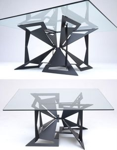 """Folding a thick sheet of steel is no easy task, but that's exactly what engineers did to create the 4foldlow table by British designer George Rice for Formtank – by hand, no less. The Japanese origami-inspired design is laser-cut from a single sheet of steel to minimize waste. """"The development of 4foldlow has been long and extensive, requiring complex mathematics and precision engineering. The outcome is visually complex, while on closer inspection the structure begins to reveal itself,""""…"""