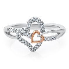 1/10 ct. tw. Diamond Heart Ring in Sterling Silver & 10K Gold Diamond Promise Rings, Promise Rings For Her, Diamond Heart, Diamond Engagement Rings, Heart Ring, Heart Jewelry, Diamond Jewelry, Women Jewelry, Wedding Rings