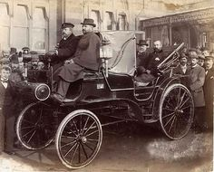 An electric car designed by Magnus Volk outside of Metropole Hotel, Brighton. 1890s