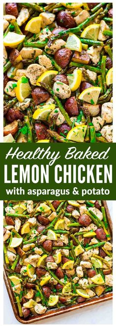 Easy, healthy Baked Lemon Chicken with Garlic and Rosemary. Add asparagus and potatoes for a DELICIOUS sheet pan meal that's perfect for busy weeknights! The veggies are crispy, the chicken juicy, and the flavors so fresh. Our family loves this simple meal! Recipe at wellplated.com | @wellplated