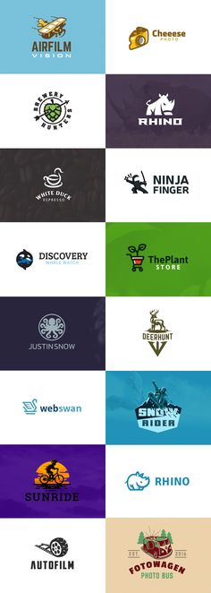 Logo collection 2016 #logo #design #logodesign #creative #brand #identity #brandidentity #kreatank #cheese #photo #airplane #plane #film #movie #orca #dolphin #rhino #octopus #duck #coffee #brewery #ninja #snowboard