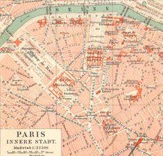1896 Antique City Map of Paris France