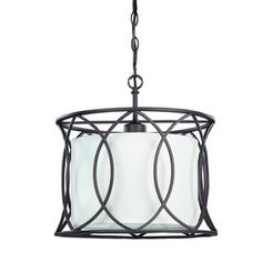 Canarm Monica 13.5-in W Oil Rubbed Bronze Pendant Light with White Shade, takes 1 100 watt bulb. 2 for the island?