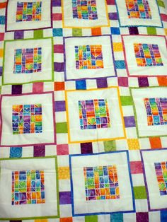 i think the centre windows are done using a single piece of a print. Quilting Tips, Machine Quilting, Quilting Designs, Owl Quilts, Baby Quilts, Patch Quilt, Quilt Blocks, Yo Yo Quilt, Quilted Wall Hangings