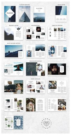 Magazine by Paperwhite Studio on Creativ. -MILESTONE Magazine by Paperwhite Studio on Creativ. - Annual Report by MrTemplater on More A modern, minimal, magazine, folio or brochure InDesign template. This layout has been designed as a Surf. Mise En Page Portfolio, Portfolio Design, Book Photographe, Invite Design, Magazine Architecture, Design De Configuration, Poster Festival, What Is Fashion Designing, Magazin Design