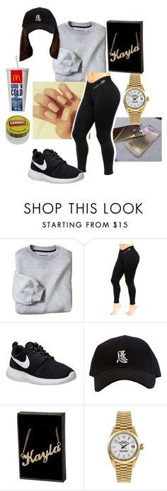 """""""Untitled #1309"""" by jadahawkins ❤ liked on Polyvore featuring NIKE, Rolex, Carmex, women's clothing, women, female, woman, misses and juniors"""