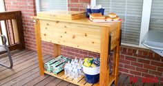 How to build a Patio Cooler and Grill Cart combo. Make this DIY Patio Cooler the star of your next BBQ. Full project walk through, video, and plans are available! Deck Cooler, Wood Cooler, Cooler Cart, Cooler Stand, Outdoor Cooler, Diy Outdoor Bar, Cooler Box, Diy Patio, Outdoor Living