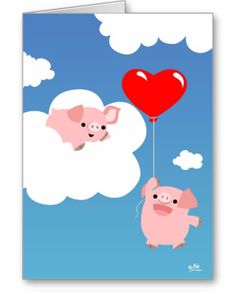 Pig Flying With Balloon Greeting Cards