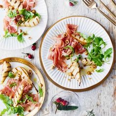 Sweet seared pear, crunchy toasted hazelnuts and salty prosciutto all go into making this simple but sophisticated gluten free starter