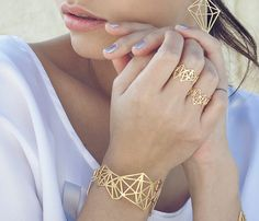 Geometric Diamond Bracelet Architectural jewelry by shlomitofir Geometric Diamond Bracelet Architectural jewelry by shlomitofir Emerald Bracelet, Sapphire Jewelry, Diamond Bracelets, Emerald Rings, Sapphire Pendant, Blue Sapphire, Bijoux Design, Schmuck Design, Jewelry Design