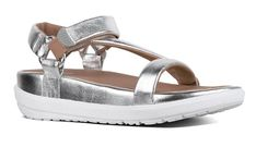 #FitFlop Fitness Schuhe Sandale - Limeted Edition Sandale von Michelle Stein. Mit Fersenriemen und Klettverschluss, silber. Clogs, Fitflop, Sneaker, Sandals, Fashion, Comfortable Sandals, Shoes Sandals, Fitness Shoes, New Shoes