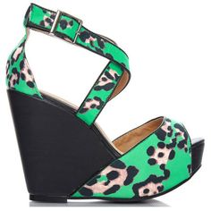 Fiebiger shoes depeche black green leopard wedges ($119) ❤ liked on Polyvore featuring shoes, sandals, high heel platform sandals, platform wedge sandals, high heel wedge sandals, black sandals and high heel sandals