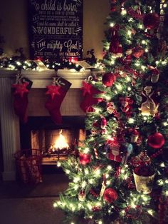 Christmas Tree Love the idea of hanging an initial or little embellishment with a each solid colored stocking