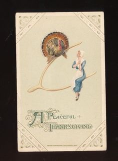 Schmucker Thanksgiving Postcard Winsch Pilgrim LADY & Turkey on Wishbone-a667 #Thanksgiving