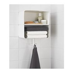 IKEA - BRICKAN, Wall shelf, , Two functions in one – a shelf for clean towels and a hook for the one you're currently using.Soft, rounded corners make it perfect in tight spaces where it is best to avoid sharp protruding corners.