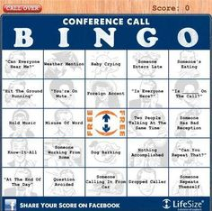 conference call bingo for my dad