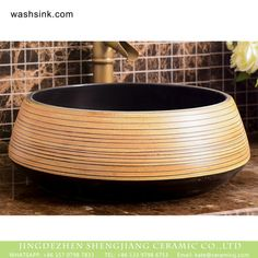 Factory wholesale price art black ceramic with hand striation Wash Basin Counter, Counter Top, Basins, Hand Art, Color Stripes, Bathroom Designs, Wood Sculpture, Wood Colors, Carving