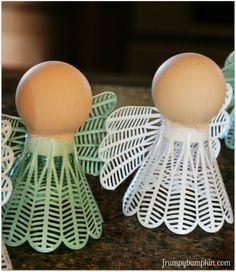 Make an angel ornament from a badminton birdie and a ping pong ball.