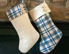 Our plaid and burlap holiday stockings are handmade for a good old rustic country Christmas. Celebrate Christmas in old fashioned charm with your handmade burlap and plaid Christmas stockings. Your rustic decor will not be complete with out the finishing touch of a burlap stocking. Your rustic burlap and plaid Christmas stockings come fully lined and are a charming addition to your country Christmas decor. Suitable for use year in and year out without fraying or pulling apart. Santa will…