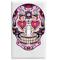 Light Switch Cover - Sugar Skull with Purple Flower