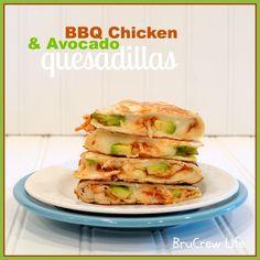BBQ Chicken Avocado Quesadillas - barbecue chicken and avocado in a cheese quesadilla www.insidebrucrewlife.com