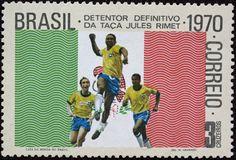 Selo Brasil Tri-Campeão Detentor Definitivo da Taça Jules Rimet - Pelé, Tostão e Jairzinho
