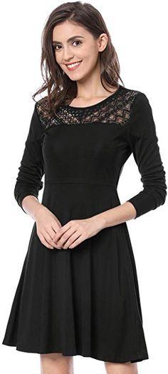 Allegra K Women s Diagonal Lace Panel Long Sleeves Skater Dress S Black at  Amazon Women s Clothing 4ab0603e5