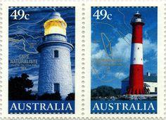 """Faros de Australia: Faro """"Cape Naturaliste"""" (1904), Faro Isla Troubridge(1856). Australia, 2002"""