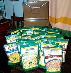 Article:  Food for 1 person for 1 year $ 191. Just-add-water soups & pancake mixes, pasta & jars of sauce, and 25 lbs. each: rice beans, flour,  sugar & salt.